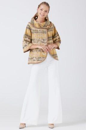 Sementa Kadın Kum Yaka Detaylı Triko Ceket