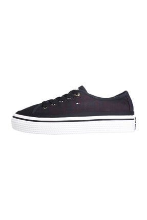 Tommy Hilfiger Kadın Mavi Sneakers Tommy Jacquard Flatform Sneaker FW0FW04071