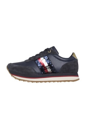 Tommy Hilfiger Kadın Lacivert Oxford Ayakkabı Fw0fw03703 Sequıns Retro Runner Mıdnıght
