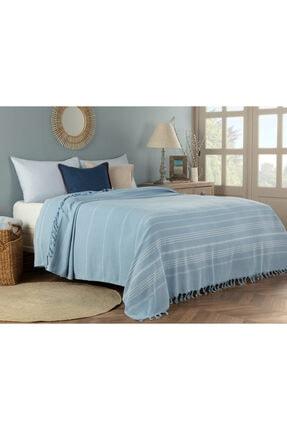 Madame Coco Alegron King Size Yıkamalı Yatak Örtüsü - Açık Mavi