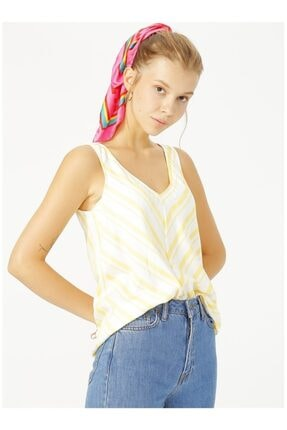 LİMON COMPANY Limon Sarı Beyaz Bluz