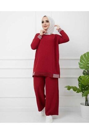 Durugiyim Kadın Kırmızı Tessetür Giyim Alt Üst Takım
