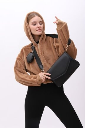 Shule Bags Kadın Siyah Cüzdanlı Çapraz Çanta Ashley