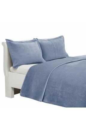 Linens Mavi Çift Kişilik Yatak Örtüsü Glace