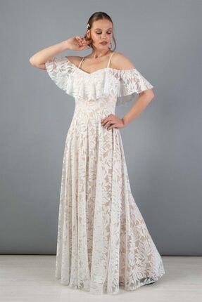 Carmen Kadın Bej Dantelli Düşük Kollu Uzun Dış Çekim Elbisesi