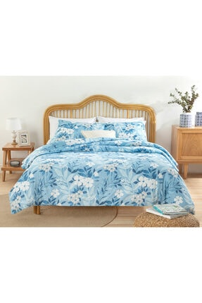 English Home Summer Garden Pamuklu Tek Kişilik Nevresim Seti 160x220 Cm Mavi