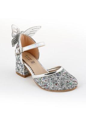 bunnyonthego Kız Çocuk Gümüş Taş Işlemeli Cam Kırığı Kelebek Figürlü Topuklu Karnıyarık Model Abiye Ayakkabı