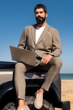 ALTINYILDIZ CLASSICS Erkek Haki Slim Fit Desenli Takım Elbise