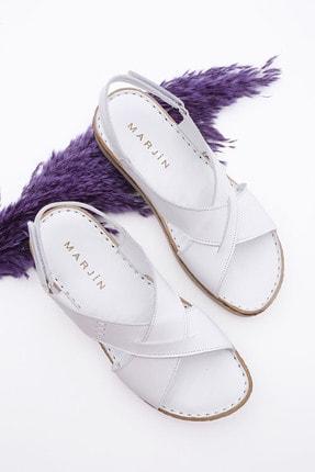 Marjin Kadın Hakiki Deri Sandalet Butagebeyaz