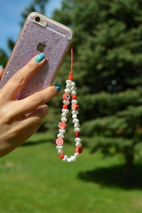 Scarves&Accessories Kırmızı Renkli Fimo Boncuklu Küçük Boy Telefon Ipi Charmı Askısı