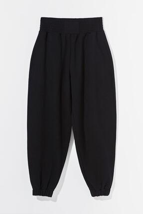 mor butik Kadın Siyah Penye Boxing Jogger Pantolon Passion 010201