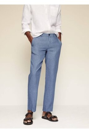 MANGO Man Erkek Mavi Dar Kesimli Keten Pantolon