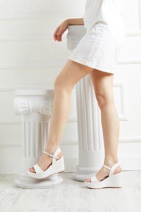 MİNAMİRA Kadın Beyaz Cilt Dolgu Topuklu Ayakkabı