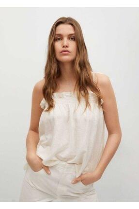 MANGO Woman Kadın Kırık Beyaz Dökümlü Keten Bluz
