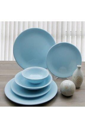 Arna Porselen 24 Parça 6 Kişilik Seramik Yemek Takımı-mavi