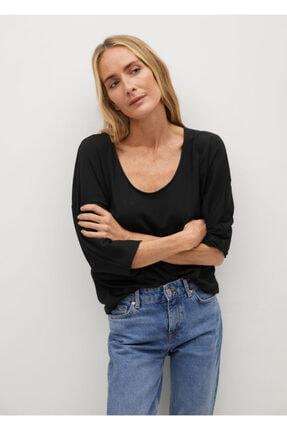 MANGO Woman Kadın Uzun Kollu Tişört