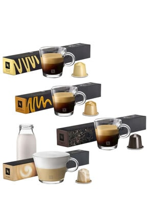 Nespresso Barista Vanilla Eclair Creme Brulee Chiaro ve Roma Kapsül Kahve 10'lu 4'lü Paket