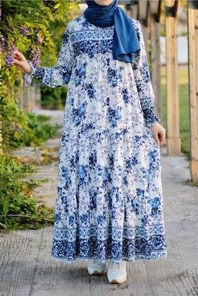 InStyle Ebruli Desen Rahat Kalıp Elbise - Mavi