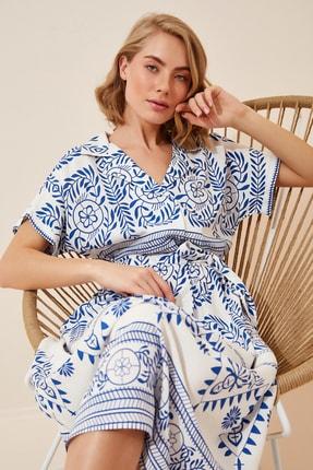 Happiness İst. Kadın Mavi Beyaz Desenli Yazlık Viskon Elbise DD00921