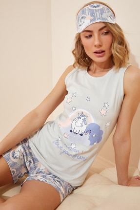 Happiness İst. Kadın Açık Mavi Baskılı Atlet Şort Pamuklu Örme Pijama Takımı NL00013
