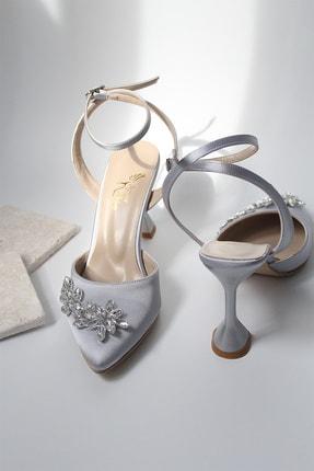 BirEylül Shoes Kadın Saten Damla Taş Detaylı Gri Abiye Topuklu Ayakkabı