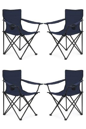 Walke 4 Lü Katlanabilir Kamp Sandalyesi Piknik Sandalyesi Plaj Sandalyesi Mavi Taşıma Çantalı