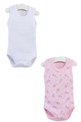 Pattaya Kids Kız Bebek Pembe Ayıcıklı Beyaz Kolsuz Çıtçıtlı Body Ptk20s-403
