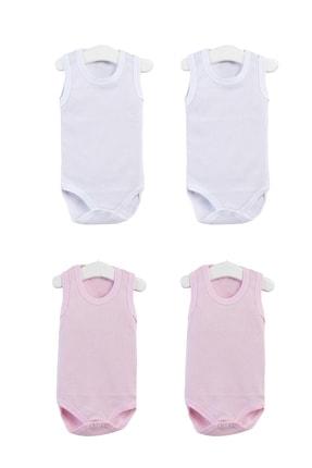Pattaya Kids Kız Bebek Pembe Beyaz Kolsuz Çıtçıtlı Body Ptk20s-400