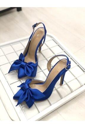 Shoego Kadın Saks Mavi Saten Fiyonklu Stiletto Topuklu