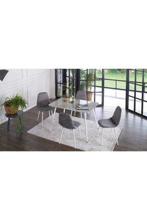 İSTİKBAL Marble Mutfak Masa Seti Beyaz - Antrasit