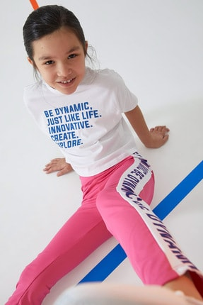 DeFacto Kız Çocuk Yazı Baskılı Yüksek Bel Active Spor Tayt
