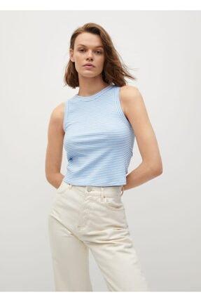 MANGO Woman Kadın Mavi Geri Dönüştürülmüş Polyesterli  Bluz