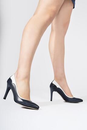 CZ London Kadın Lacivert Hakiki Deri İnce Yüksek Topuklu Stiletto Ayakkabı