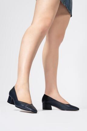 CZ London Hakiki Deri Kadın Alçak Topuklu Ayakkabı Önü Kapalı Küt Burun