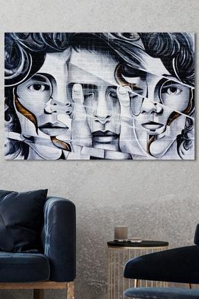 Hediyeler Kapında Broken Faces Dekoratif Kanvas Tablo