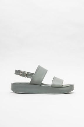 Elle Shoes Gri Kadın Dolgu Topuklu Sandalet