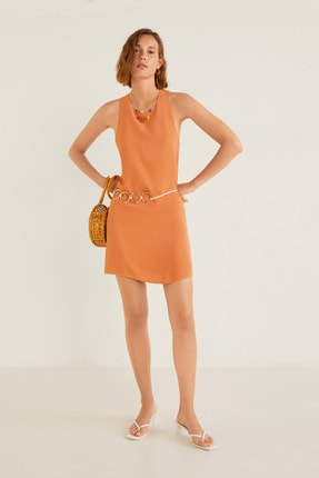 Mango Kadın Turuncu Elbise 53010608