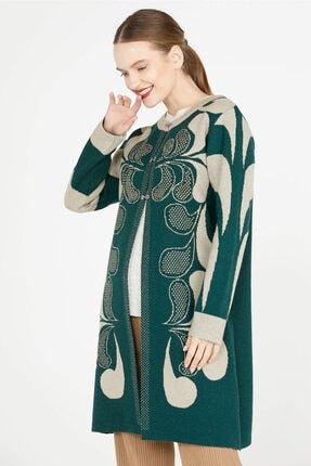 Sementa Damla Desen Uzun Triko Ceket - Yeşil