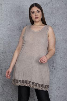 Şans Kadın Vizon Etek Ucu Dantelli Kolsuz Bluz 65N25613