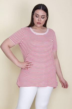 Şans Kadın Kırmızı Yakası Tül Detaylı Simli Çizgili Bluz 65N25649