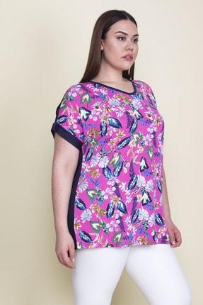 Şans Kadın Renkli Ön Desenli Düşük Kollu Bluz 65N25700