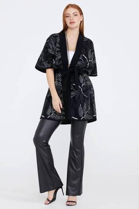Sementa Kadın Siyah Desenli Triko Ceket