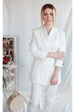 Euznour Denim Kumaş Çizgili Pantolon Ceket Takım