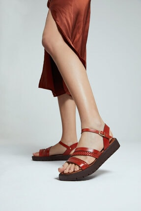 Derimod Kadın Turuncu Deri Sandalet