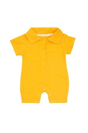 Pattaya Kids Erkek Bebek Sarı Organik Müslin Tulum 0-9 Ay Pb21s506-2113-d