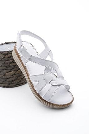 Marjin Kadın Hakiki Deri Sandalet Caskabeyaz
