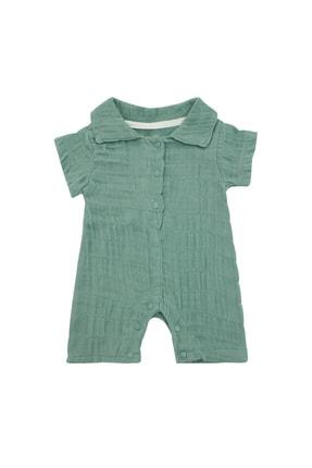 Pattaya Kids Bebek Çağla Yeşili Organik Müslin Kırışık Görünümlü Tulum 0-9 Ay Pb21s506-2113-k