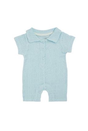 Pattaya Kids Bebek Açık Mavi Organik Müslin Kırışık Görünümlü Tulum 0-9 Ay Pb21s506-2113-k