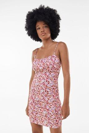 Bershka Kadın Pembe Çiçek Desenli Elbise