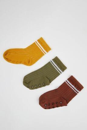 DeFacto Erkek Bebek Yeşil Çizgili Çorap 3'lü